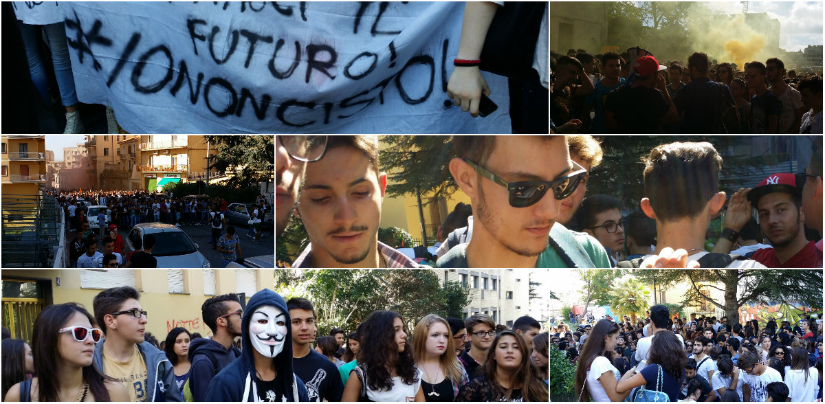 Manifestazione studentesca Catanzaro collage