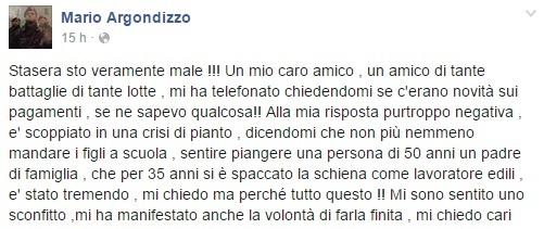 Post Facebook Mario Argondizzo su lavoratori in mobilità e povertà