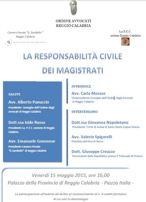 Convegno responsabilità civile magistrati Reggio locandina