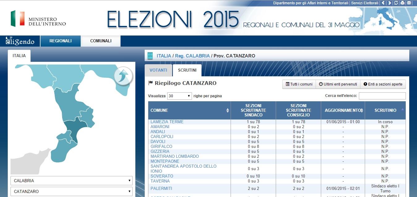 Elezioni 2015 provincia Catanzaro