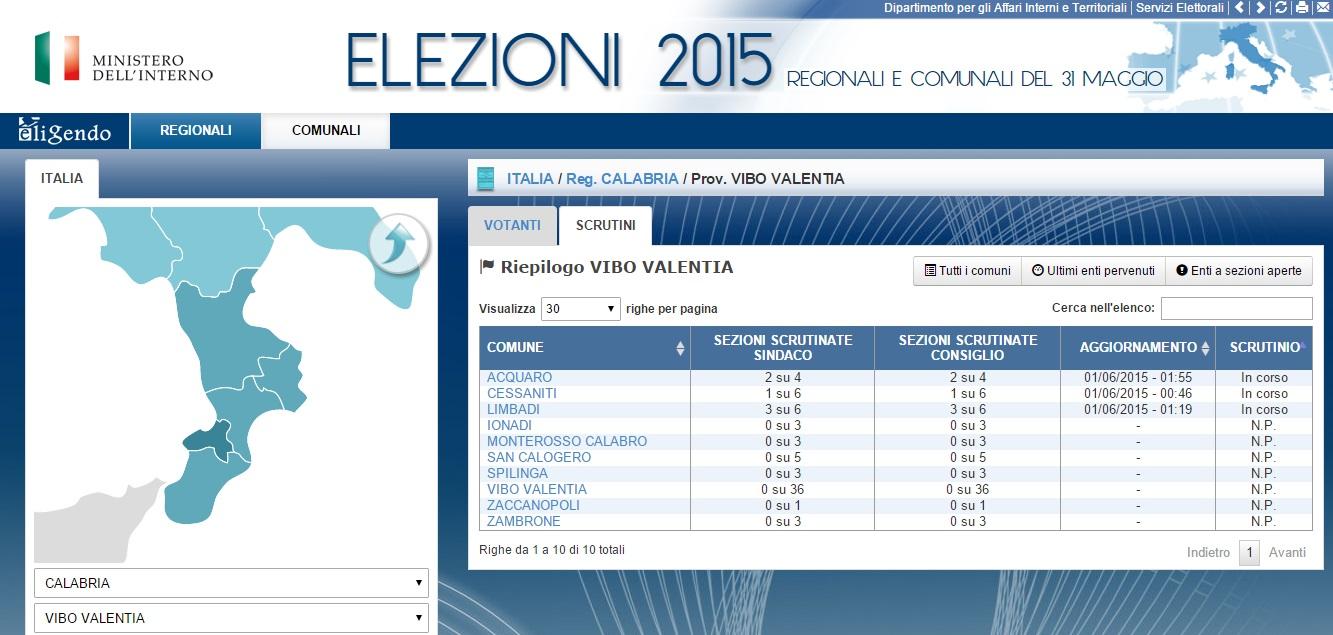 Elezioni 2015 provincia Vibo