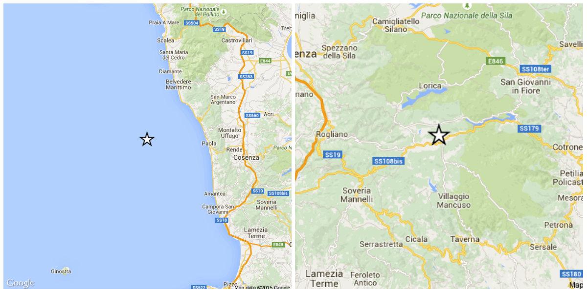 Terremoti provincia di Cosenza