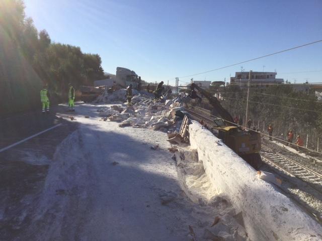 Incidente Tir blocca linea ferroviaria Napoli-Reggio