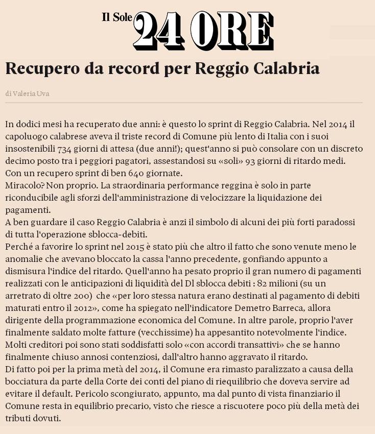 RECUPERO RECORD REGGIO