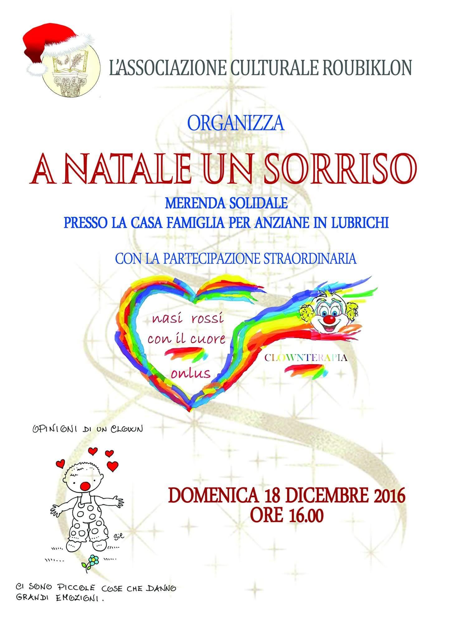 Reggio - A Natale un sorriso:merenda solidale dell'Associazione Culturale Roubiklon